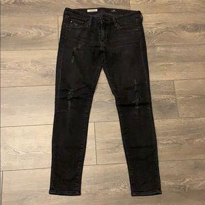 AG Super Skinny The Legging Ankle Black Jeans 27